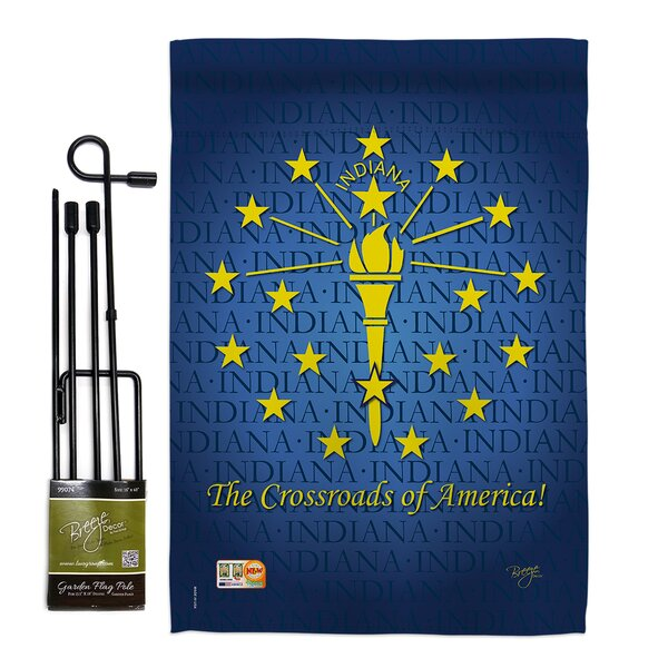 Breeze Decor Indiana Americana States Impressions Decorative Vertical 2 Sided Polyester 1 7 X 1 1 Ft Flag Set Wayfair