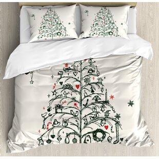 Christmas Fairies with Wands and Tree Hand Drawn Style with Wreath and Stockings Duvet Cover Set