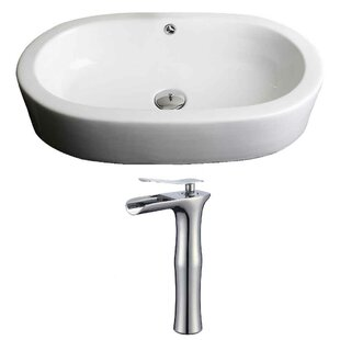 Royal Purple Bath Kitchen Semi-Recessed Ceramic Oval Vessel Bathroom Sink with Faucet and Overflow