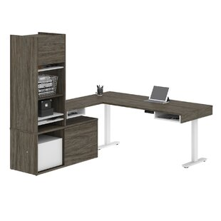 Hanska Pro-Vega Height Adjustable L-Desk with Storage Tower in White and Black