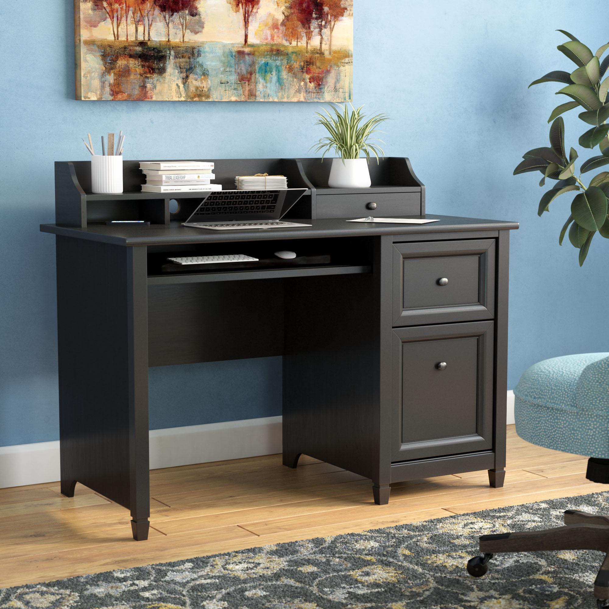 Three Posts Lamantia 3 Drawer Computer Desk With Hutch Reviews Wayfair