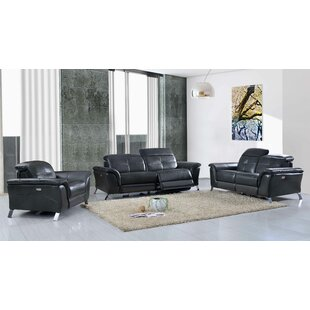 Brayden Studio Tom Reclining Electric Leather 3 Piece Leather Living Room Set