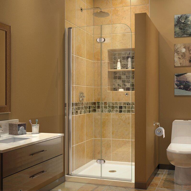 bathroom shower doors. Aqua Fold 29 5  x 72 Clear Glass Shower Door Bathtub Doors You ll Love Wayfair