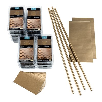 Aspect Short Grain 3 x 6 Metal Peel & Stick Subway Tile Kit in Brushed Champagne