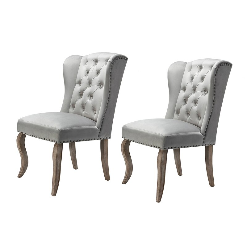 Ophelia & Co. Arnoldsville Tufted Upholstered Wing Back Side Chair (Set of 2)