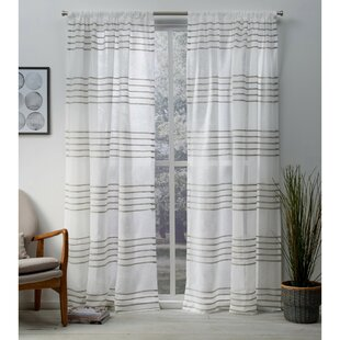 Winterbourne Down Striped Sheer Rod Pocket Curtain Panels (Set Of 2) by Mercury Row