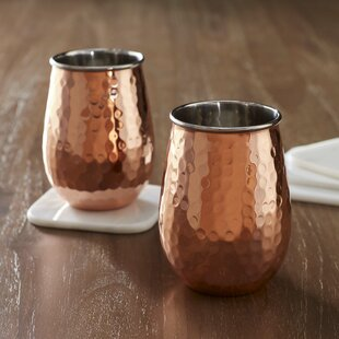 Lorrie Hammered Copper 17 Oz. Stemless Wine Glass (Set of 2)