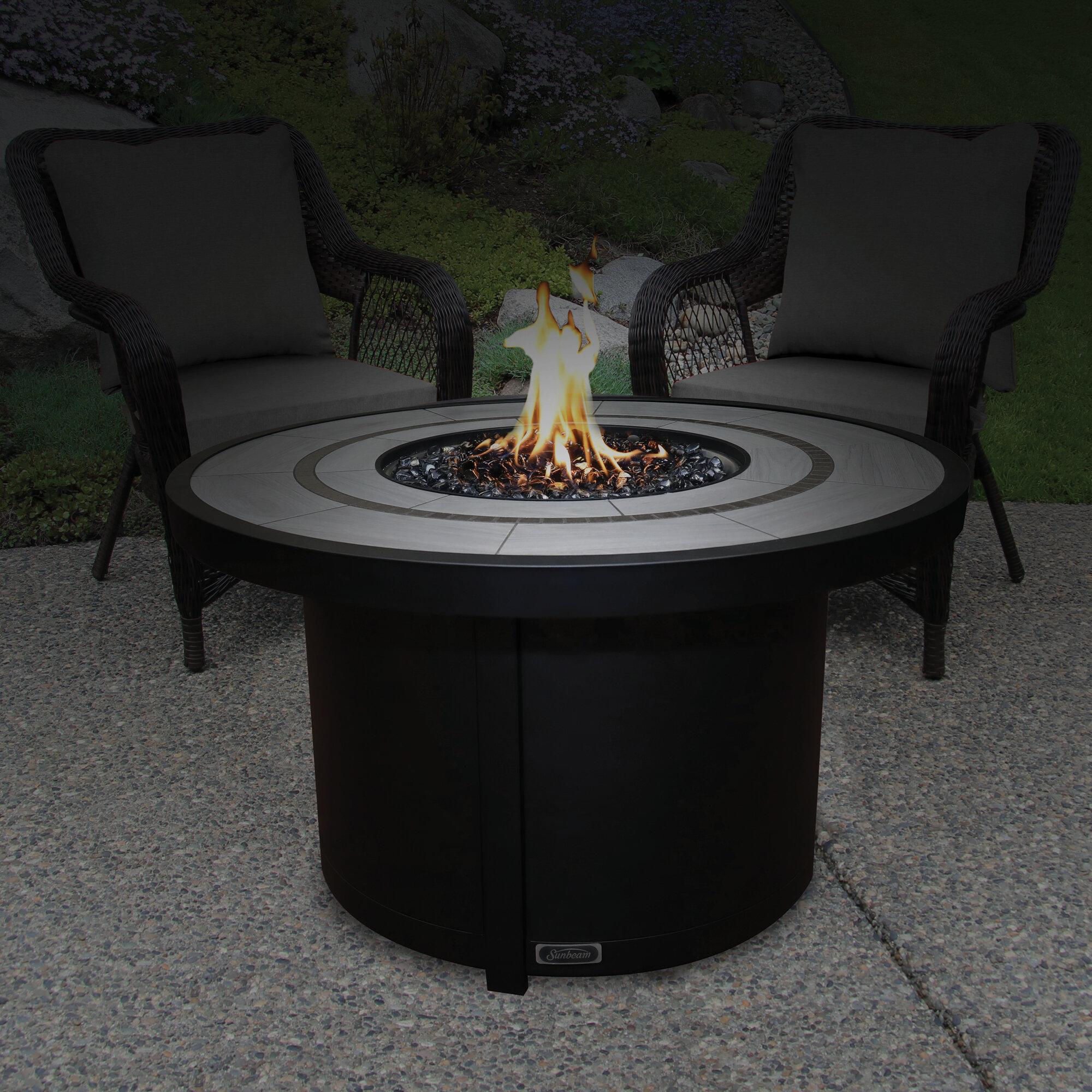 Image of: Sunbeam Round Ceramic Top Aluminum Propane Natural Gas Fire Table Wayfair