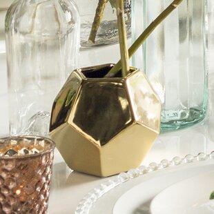 Rufous Faceted Silver Ceramic Vase