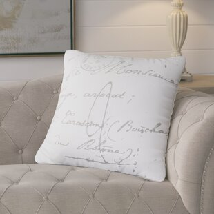Evelina Classical French Script 100% Cotton Throw Pillow