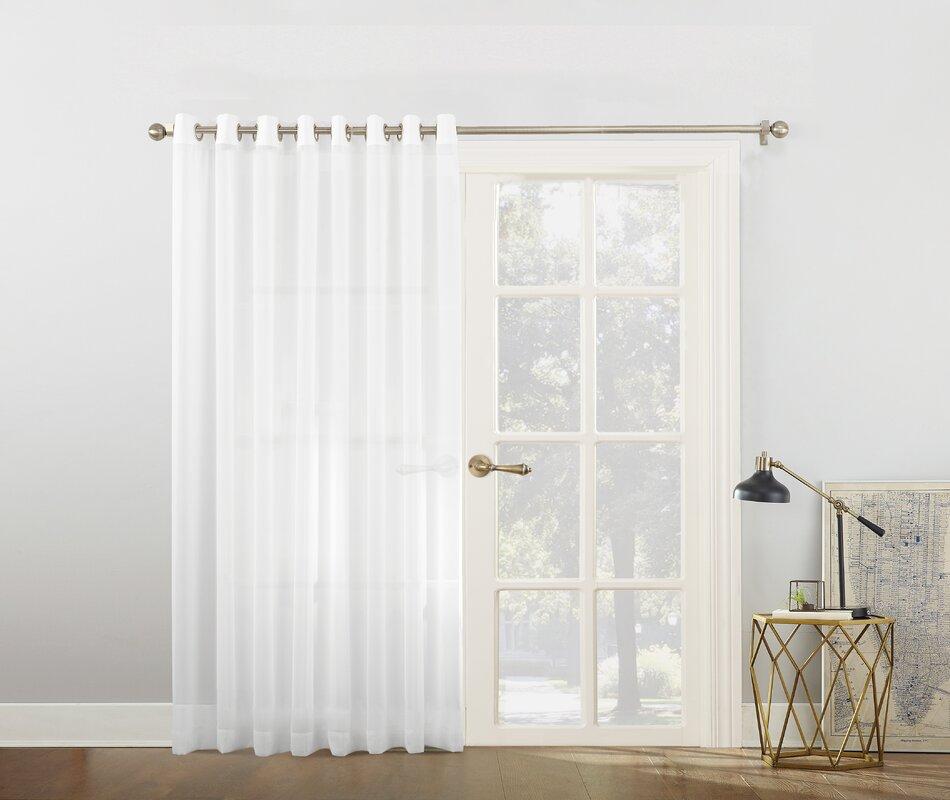 Emily Voile Sliding Door Patio Solid Semi Sheer Grommet Single Curtain Panel