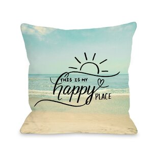 My Happy Place Beach Throw Pillow