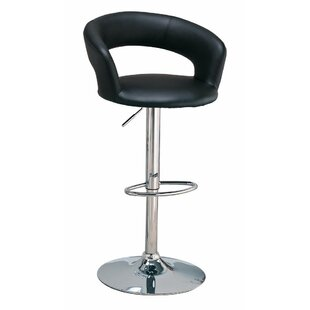 Woolford Faux Leather Adjustable Height Swivel Bar Stool by Orren Ellis