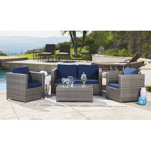 Latitude Run Leithgow 4 Piece Rattan Sofa Set with Cushions