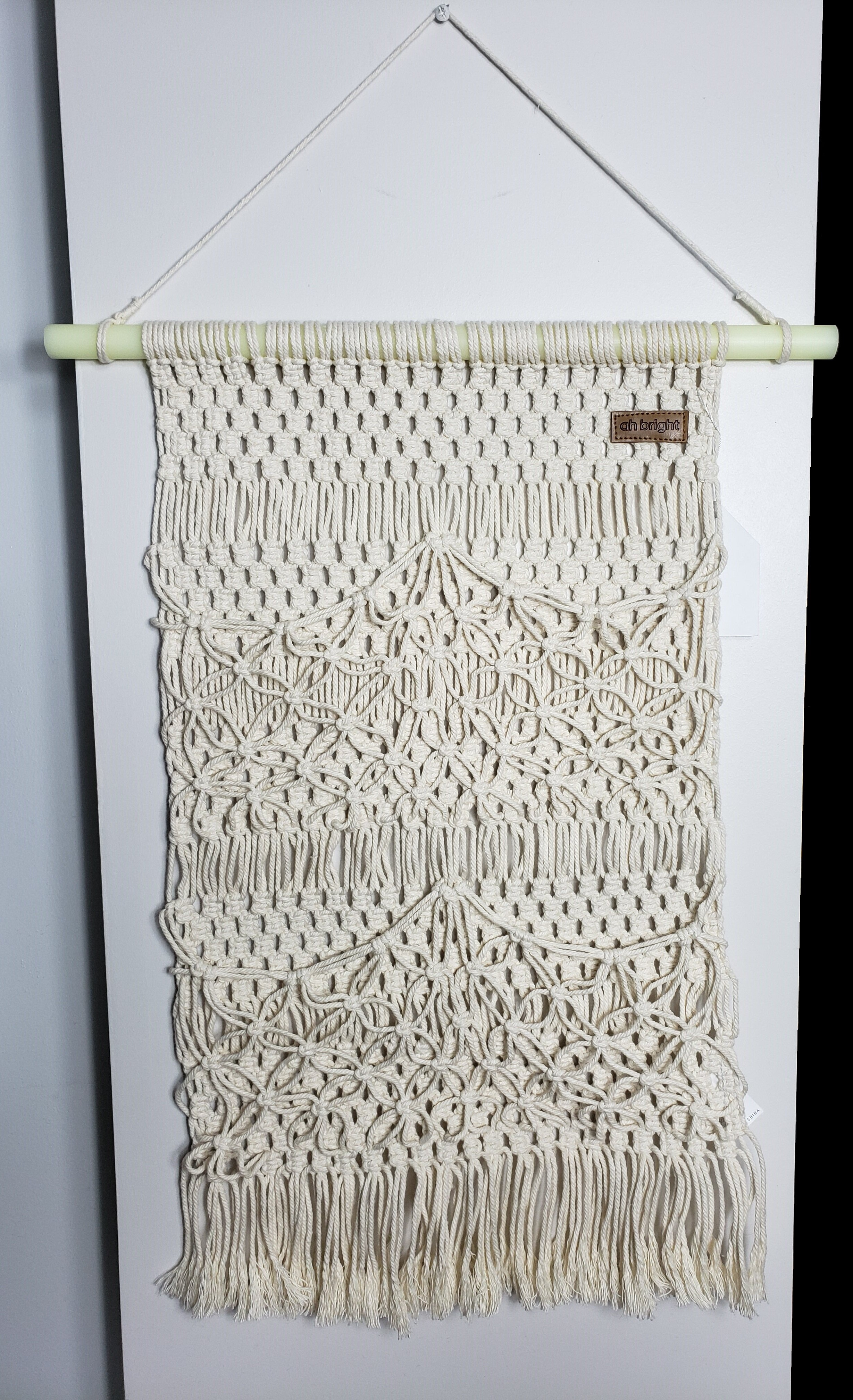Ah Bright Cotton Handmade Macrame Wall Hanging With Rod Included