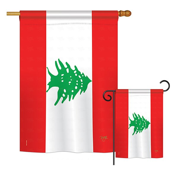 Breeze Decor 2 Piece Lebanon Of The World Nationality Impressions Decorative Vertical 2 Sided Polyester Flag Set Wayfair