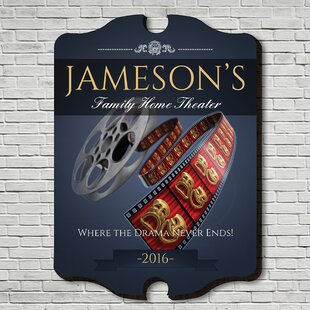 Family Movie Time Personalized Home Theater Sign Wall Décor