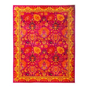 Comparison One-of-a-Kind Eclectic Vivid Hand-Knotted Pink Area Rug By Darya Rugs