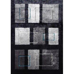Affordable Wilkinson Geometric Shag Hand-Tufted Black/Gray Area Rug ByOrren Ellis
