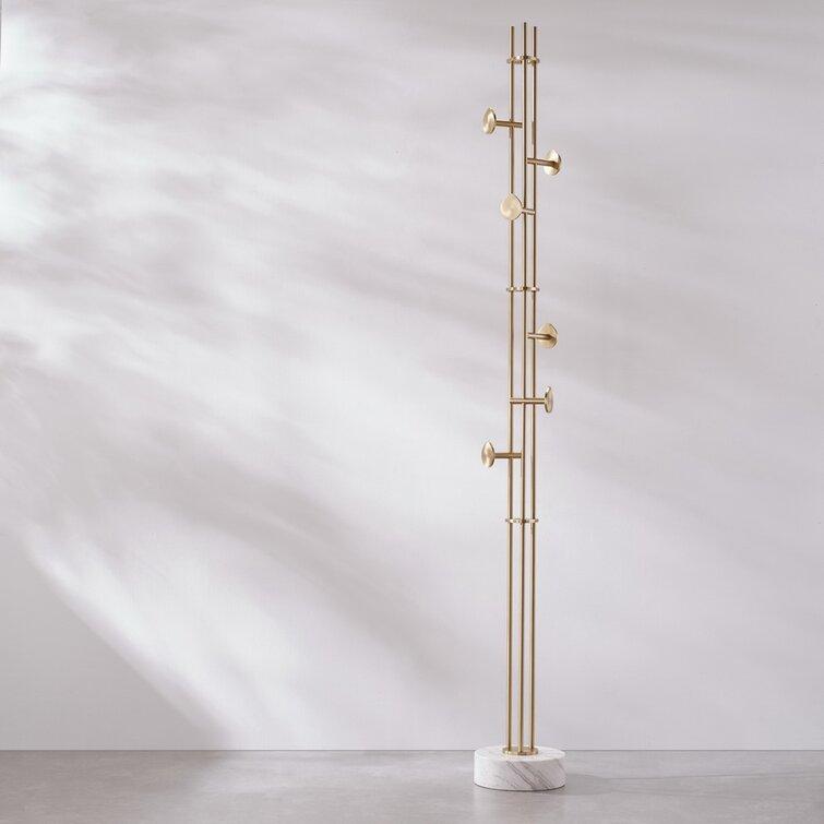 Kalyste Coat Rack Stand Entryway Hall Tree In Bras Metal 6 - Hook