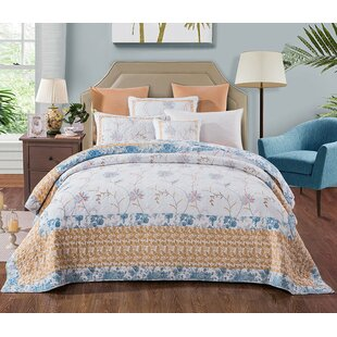 August Grove Belina Cotton Floral Embroidery Quilt