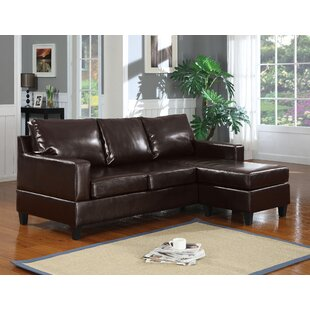 Red Barrel Studio Hobgood Leather Reversible Sectional with Ottoman