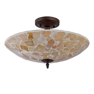 Hennigan Mosaic 2-Light Semi Flush Mount by Highland Dunes