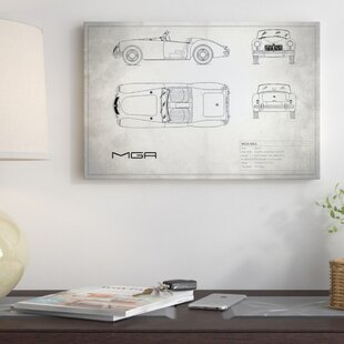 'MG MGA Mark I' Graphic Art Print on Canvas in Vintage Silver By East Urban Home