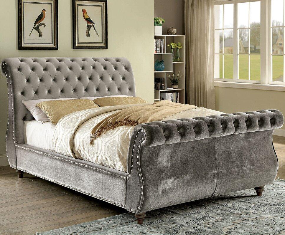 A Amp J Homes Studio Noella Upholstered Sleigh Bed Amp Reviews