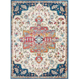 Moller Distressed Medallion Blue/Ivory Area Rug by Bloomsbury Market