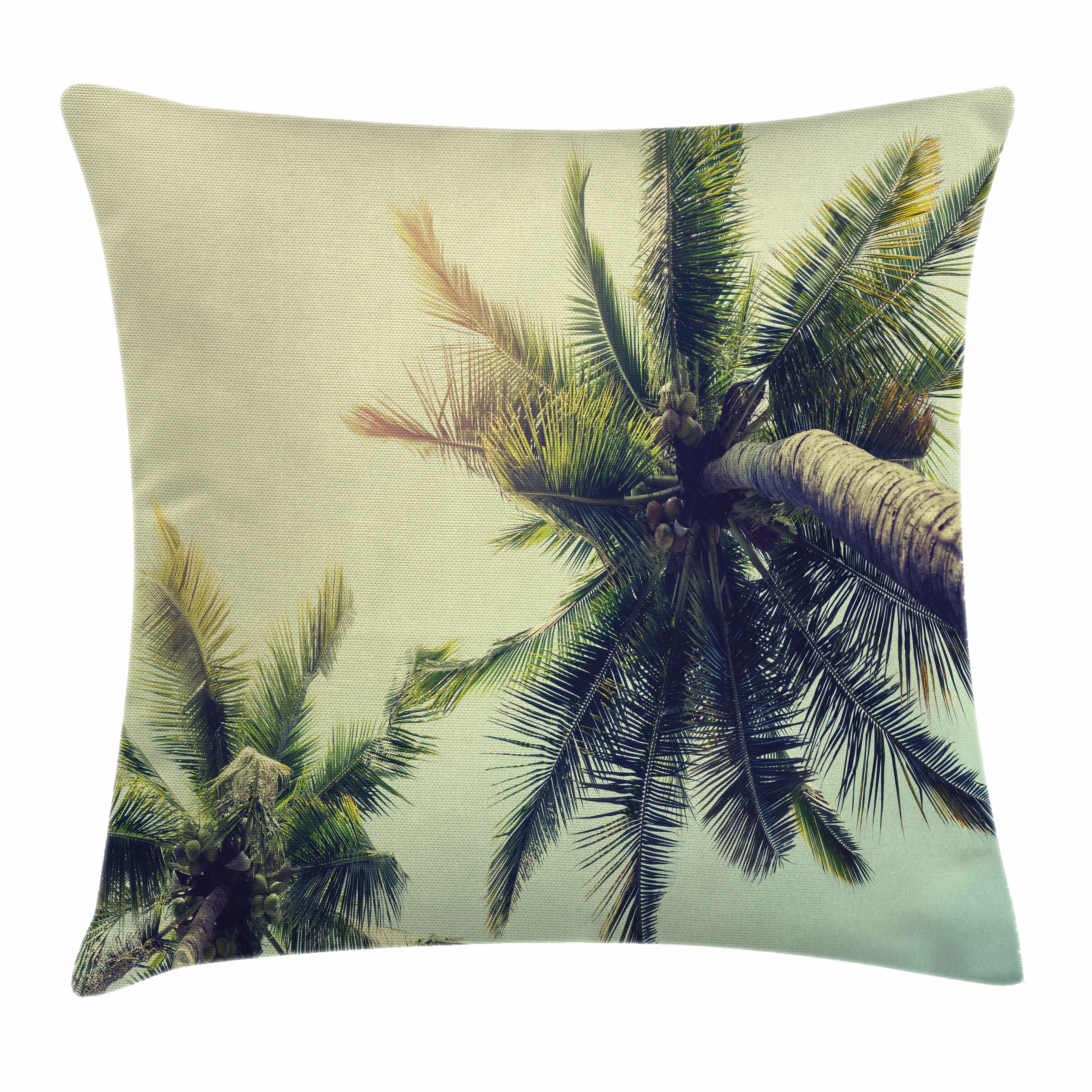 Palm Tree Tropical Summer Beach Square Pillow Cover