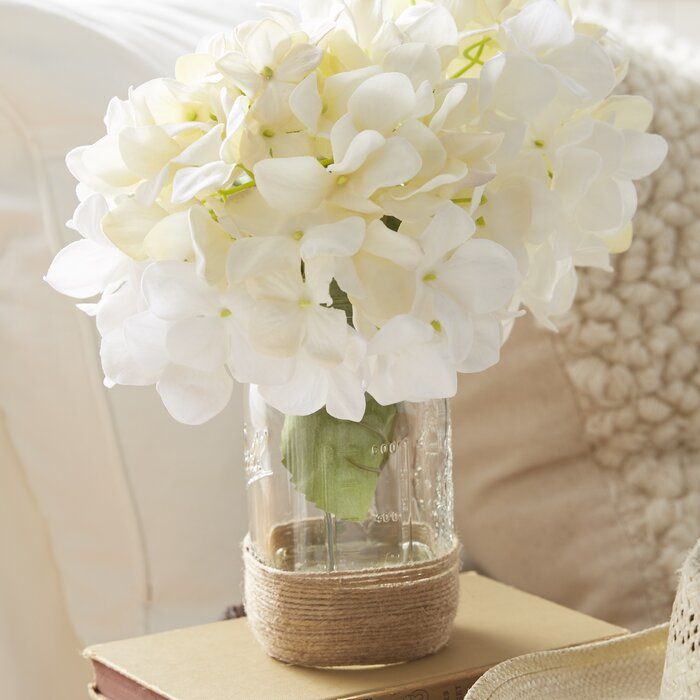 Beachcrest Home Sugarmill Silk Hydrangea Bouquet In Rope
