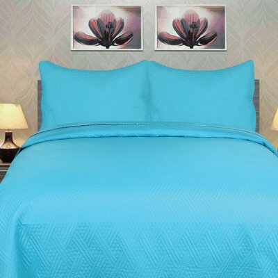 3 Piece Coverlet Set DaDa Bedding Size: California King, Color: Light Blue