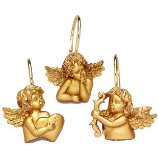 12 Piece Angels Resin Shower Curtain Hook Set
