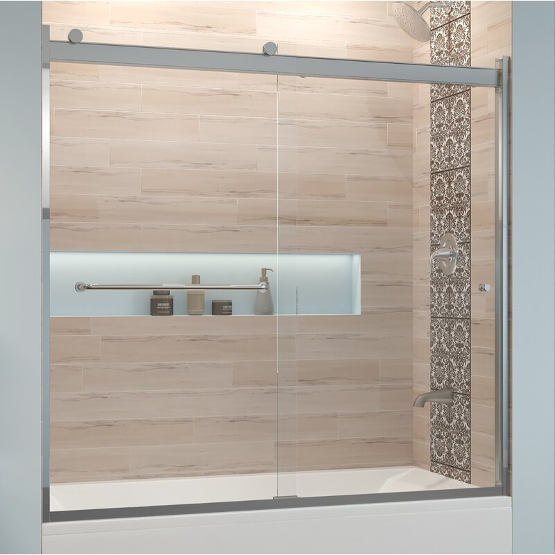 "Basco Rotolo 60"" x 57"" Bypass Semi-Frameless Tub Door  Glass Type: Clear, Finish: Brushed Nickel"
