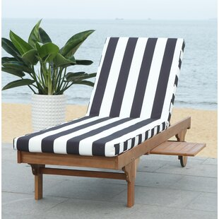 Breakwater Bay Fullerton Reclining Teak Chaise Lounge with Cushion and Table