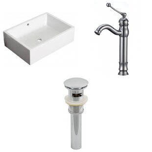 Shop For Above Counter Ceramic Rectangular Vessel Bathroom Sink with Faucet and Overflow By Royal Purple Bath Kitchen