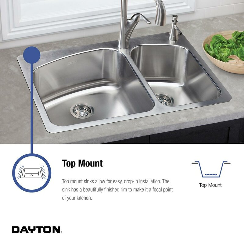 dayton 33 l x 19 w double basin drop in kitchen sink - Double Kitchen Sink