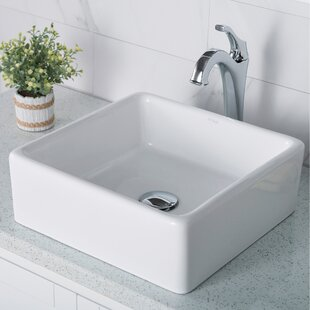 Best Elavo Ceramic Square Vessel Bathroom Sink with Faucet By Kraus