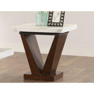 Savings Showers Square Marble Top Wooden V Shape Base End Table by Orren Ellis