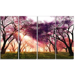 Cherry Blossoms Japan Garden 4 Piece Photographic Print On Wrapped Canvas Set By Design Art