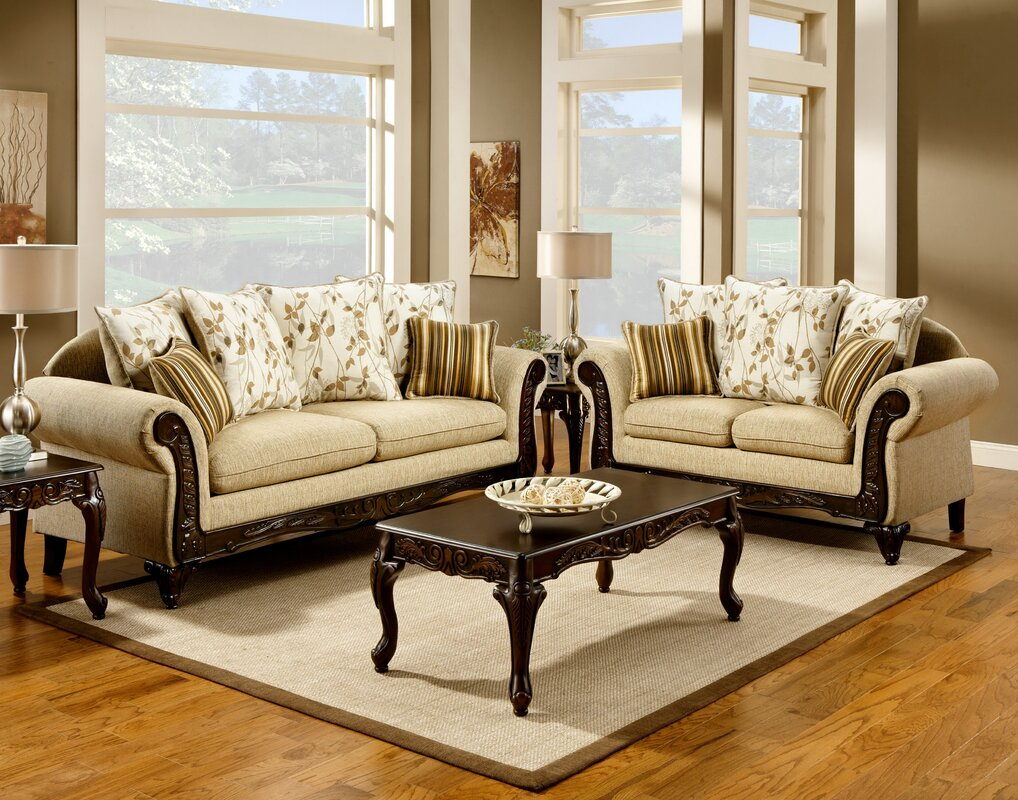 Stanton 3 piece living room set brown - Aveline Configurable Living Room Set