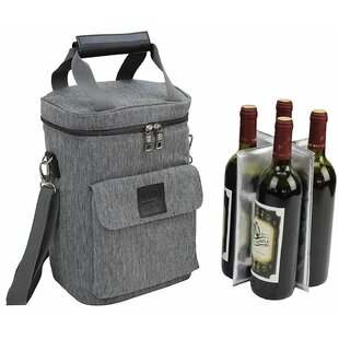Deluxe Wine Tote for 4 Bottle Carrier
