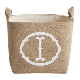 White Monogram Burlap Storage Bin