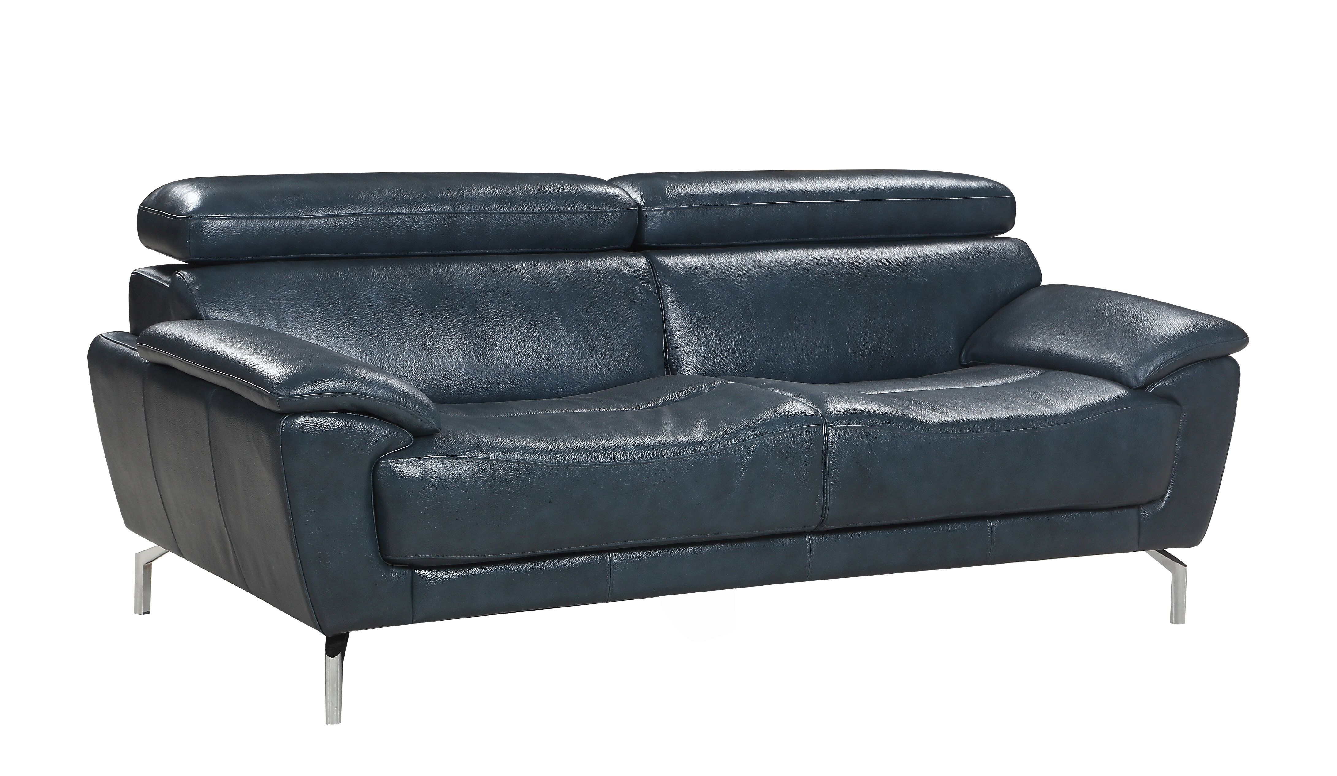Demar Mid Century Modern Top Grain Leather Sofa