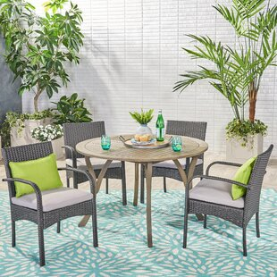 Grunewald 5 Piece Dining Set with Cushions
