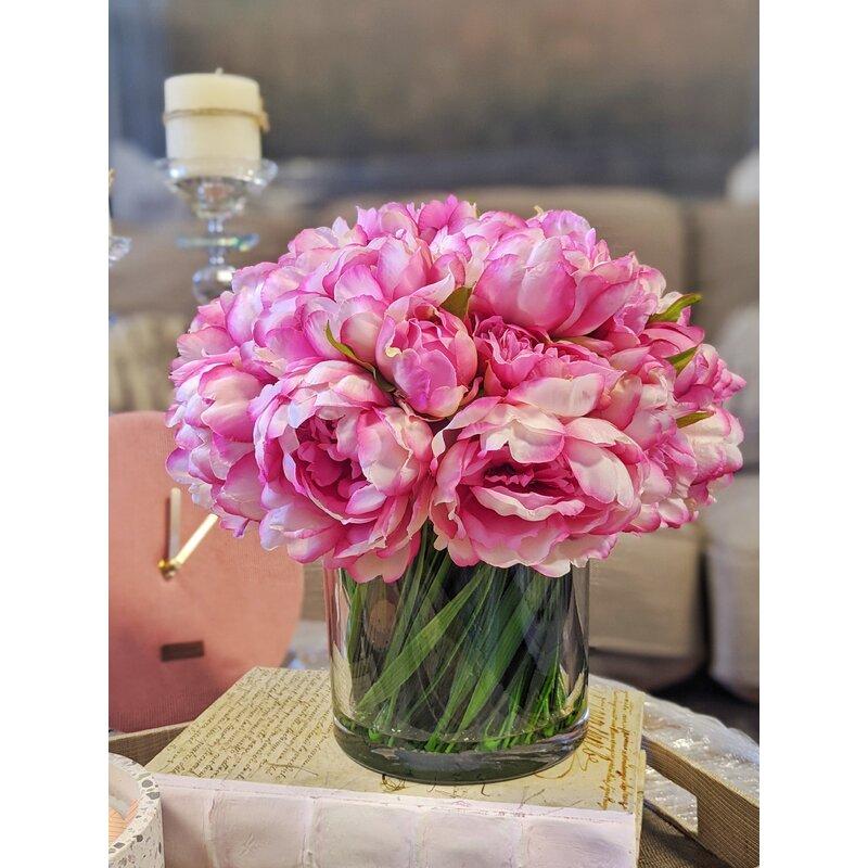 Faux Magenta Pink Peony Floral Arrangement In Glass Vase Reviews Joss Main