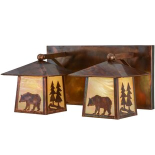 Meyda Tiffany Greenbriar Oak Pine Tree and Bear 2-Light Vanity Light