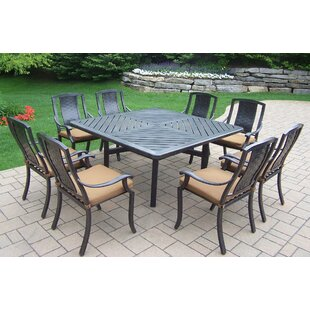 Oakland Living Vanguard 9 Piece Dining Set with Cushions