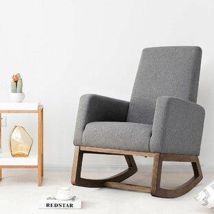Wrought Studio Raya Mid Century Upholstered Rocking Chair